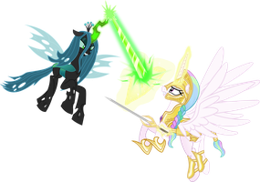 Celestia Vs Chrysalis by Vector-Brony