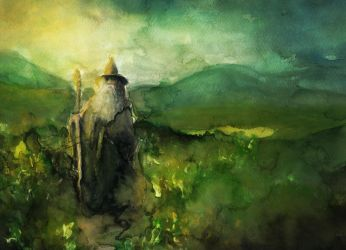 Gandalf with watercolors by Farbenfrei