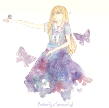 [Fem!Norway] Butterfly : Sommarfugl by PeonyAurora