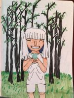 White haired girl in the woods by moonjumper4