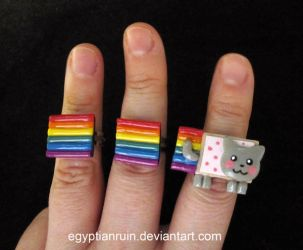 Nyan Cat Rings by egyptianruin