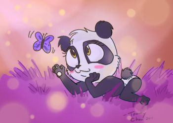 Panda Resting on Grass by tommychan