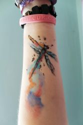 Dragonfly Watercolour Tattoo by AlmostFlyingCosplay