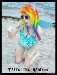 (MLP) Rainbow Dash's Lollipop (Bikini Cosplay) by KrazyKari