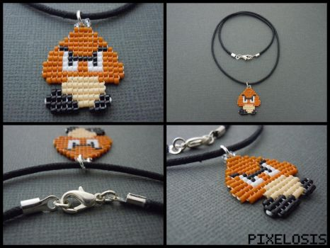 Handmade Seed Bead Goomba Necklace by Pixelosis