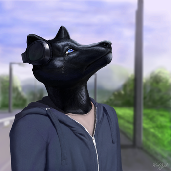 Staring to the sky and cry by wolfzol