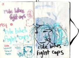 RIDE BIKES FIGHT COPS by chappy-lips