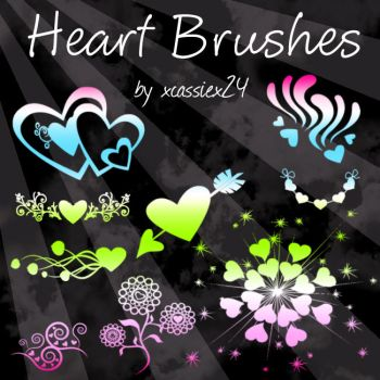 Heart Brushes by xCassiex24