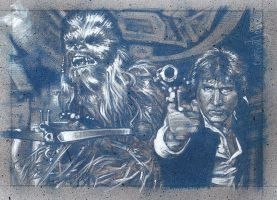 Han Solo and Chewbacca - Double Sketch Card by JeffLafferty