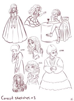 CC and CLB Concept sketches #1 by Yukinekocat