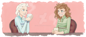 Elsa and Anna - Morning Coffee by Kiell-Art