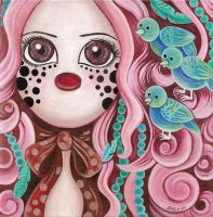 Pink girl with pretty birds in her hair by HellbeeretH