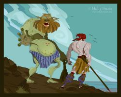 Cyclops and Odysseus by girl-with-a-pencil