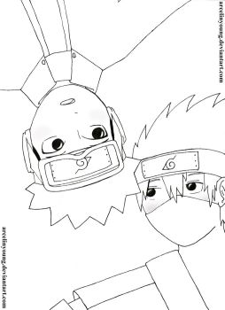 Obito and Kakashi - I Look at You - Lineart by arcelinyoung