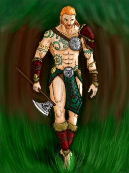 Celtic Warrior with colors by Darksigfried