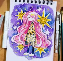Watercolour 15.1.18 - Starry Lights by N2Y88