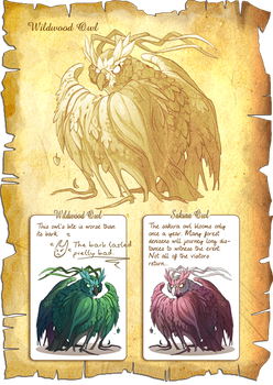 Flight Rising Bestiary: Wildwood Owls by neondragon