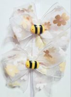 Beige blossom and bee clip set by wolf-girl87