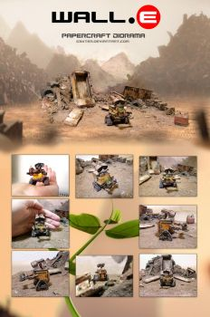 Wall-E papercraft diorama by g3xter
