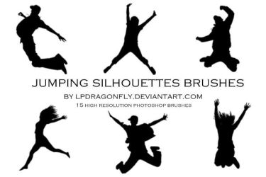 jumping silhouettes brushes by ivadesign