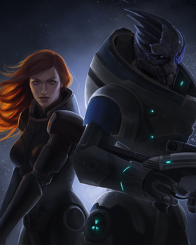 Shepard and Garrus by Sathynae