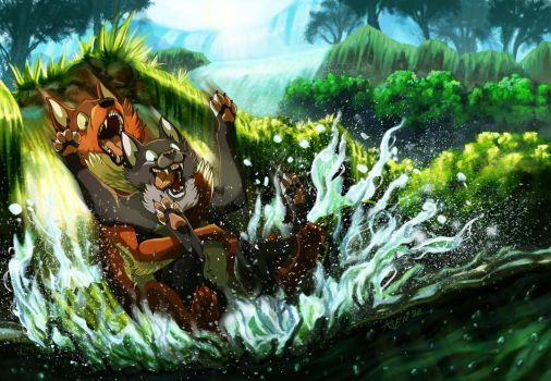 Down The Waterslide [COMMISSION] by ARVEN92