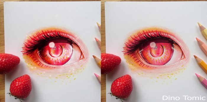 Fake / Real photo - eye drawing by AtomiccircuS