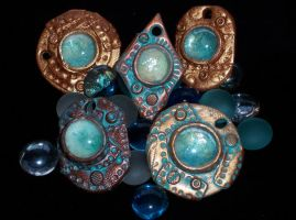 Polymer Clay SteampunkPendants by ValerianaSolaris