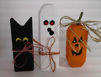 Cat Ghost and Jack-O-lantern Halloween Decoration by sweetpie2