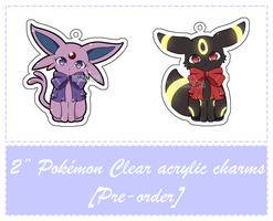 [Pokemon] 2'' Clear acrylic charms by MeliKitsune