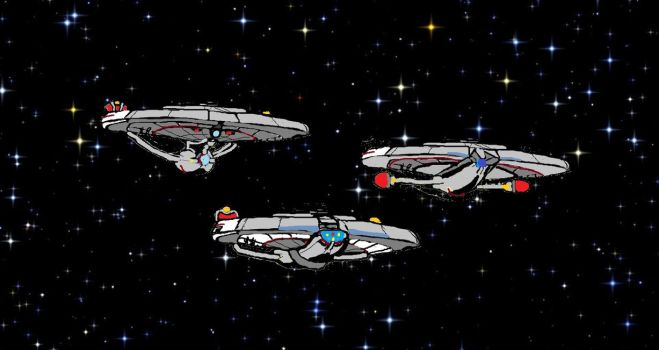USS Pendragon, Eternity and Stardust waiting by Daleduc