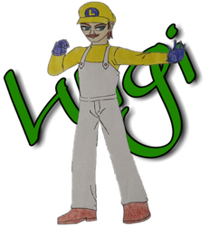 Luigi - Cutout and Text Name Background by Tabacookie