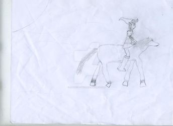 Link and Epona(Drawing) by JamieShortz