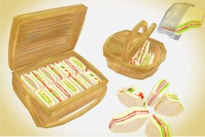 sandwich and picnic set + basket MMD download by Hack-Girl