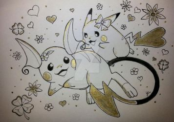 Female Pikachu and Raichu playing together by Pikabulbachu