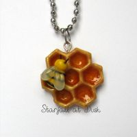 Bee on Honeycomb Necklace by StarfallAtDusk