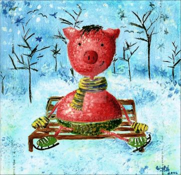 Piglet in Winter by 07038010