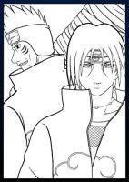 Lineart: Kisame and Itachi by NaguX