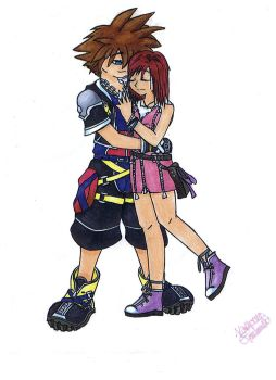 Sora and Kairi-Kingdom Hearts2 by HinotaiChan