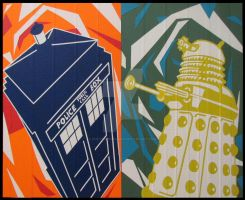Tardis and Dalek Duct Tape Art by DuctTapeDesigns