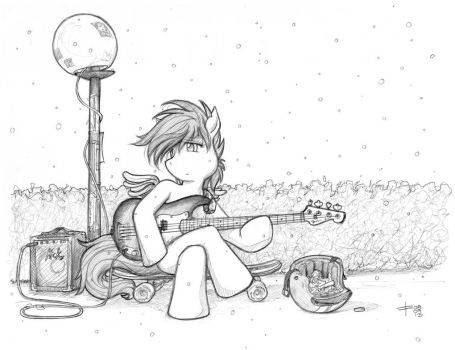 Sad Scootaloo in Snow with a P-Bass by fredrin