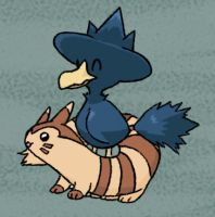 Murkrow + Furret Colored by sunnyfish