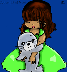 Little Vanessa and her pet seal. by MySiC