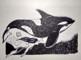 Inktober Day 12: Whale by tangnamoo