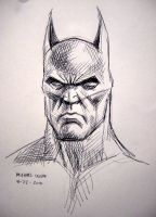 batman sketch in ball point pen by myconius