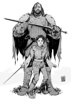 Arya and the Hound by Smolb
