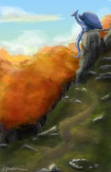 Castle Ruins Scenery Painting by kmccaigue