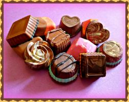 Polymer clay chocolate magnets by moonwolf17