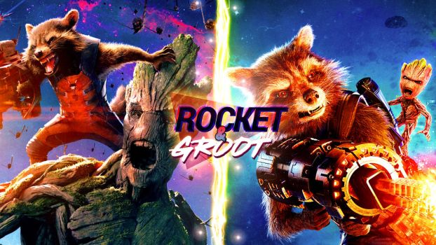 Rocket and Groot Wallpaper (4K) by Leafpenguins