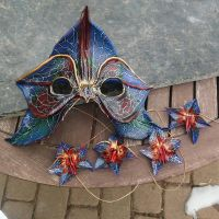Leather orchid mask and hair clips by artchik101